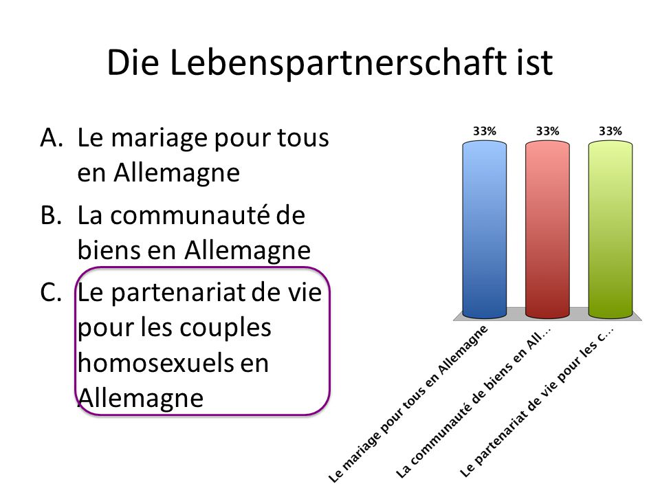 Die Lebenspartnerschaft ist A.Le mariage pour tous en Allemagne B.La communauté de biens en Allemagne C.Le partenariat de vie pour les couples homosex