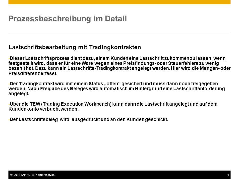 ©2011 SAP AG. All rights reserved.4 Prozessbeschreibung im Detail Lastschriftsbearbeitung mit Tradingkontrakten Dieser Lastschriftsprozess dient dazu,