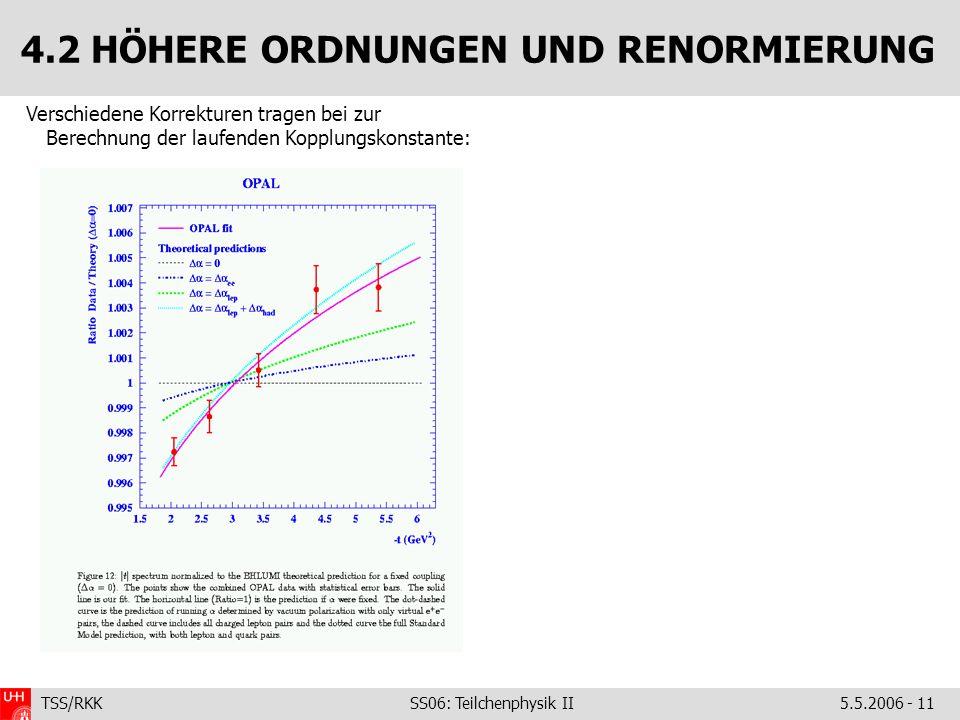 TSS/RKK SS06: Teilchenphysik II5.5.2006 - 11 4.2 HÖHERE ORDNUNGEN UND RENORMIERUNG Verschiedene Korrekturen tragen bei zur Berechnung der laufenden Kopplungskonstante: