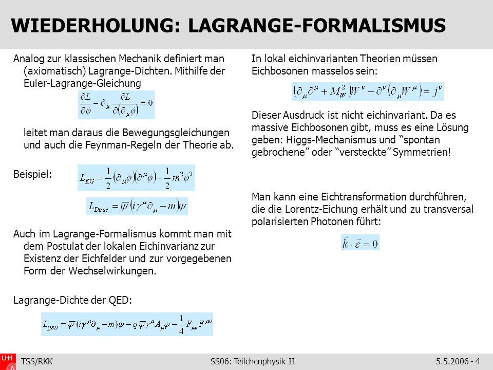 TSS/RKK SS06: Teilchenphysik II5.5.2006 - 4 WIEDERHOLUNG: LAGRANGE-FORMALISMUS Analog zur klassischen Mechanik definiert man (axiomatisch) Lagrange-Dichten.