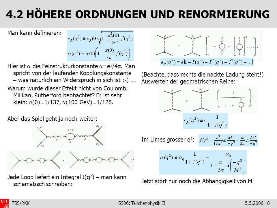 TSS/RKK SS06: Teilchenphysik II5.5.2006 - 8 4.2 HÖHERE ORDNUNGEN UND RENORMIERUNG (Beachte, dass rechts die nackte Ladung steht!) Auswerten der geometrischen Reihe: Im Limes grosser q 2 : Jetzt stört nur noch die Abhängigkeit von M.
