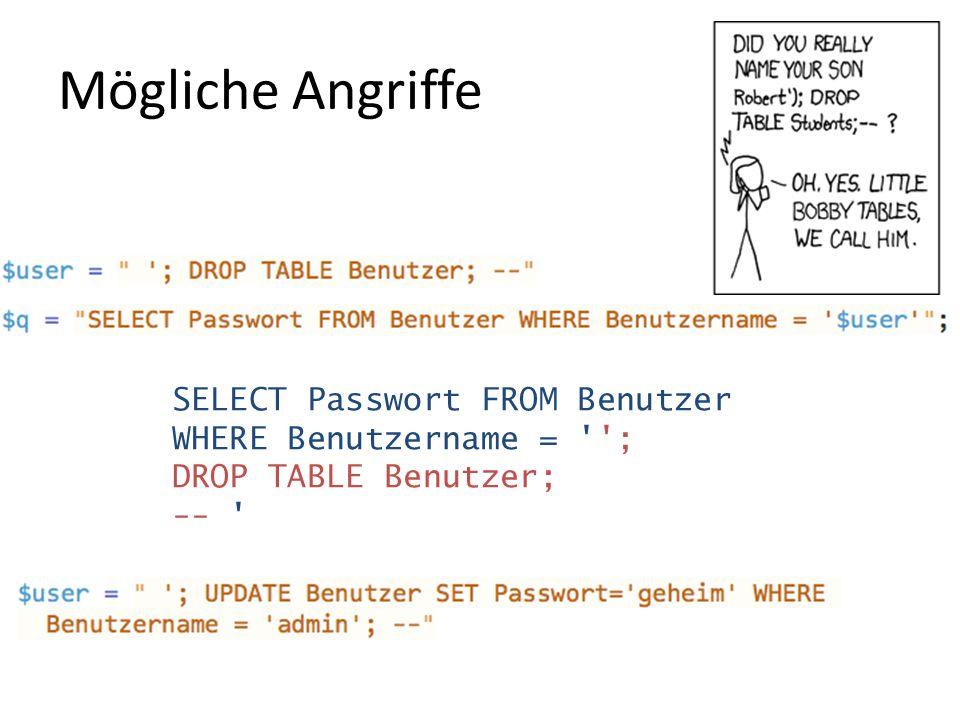 Mögliche Angriffe SELECT Passwort FROM Benutzer WHERE Benutzername = ''; DROP TABLE Benutzer; -- '