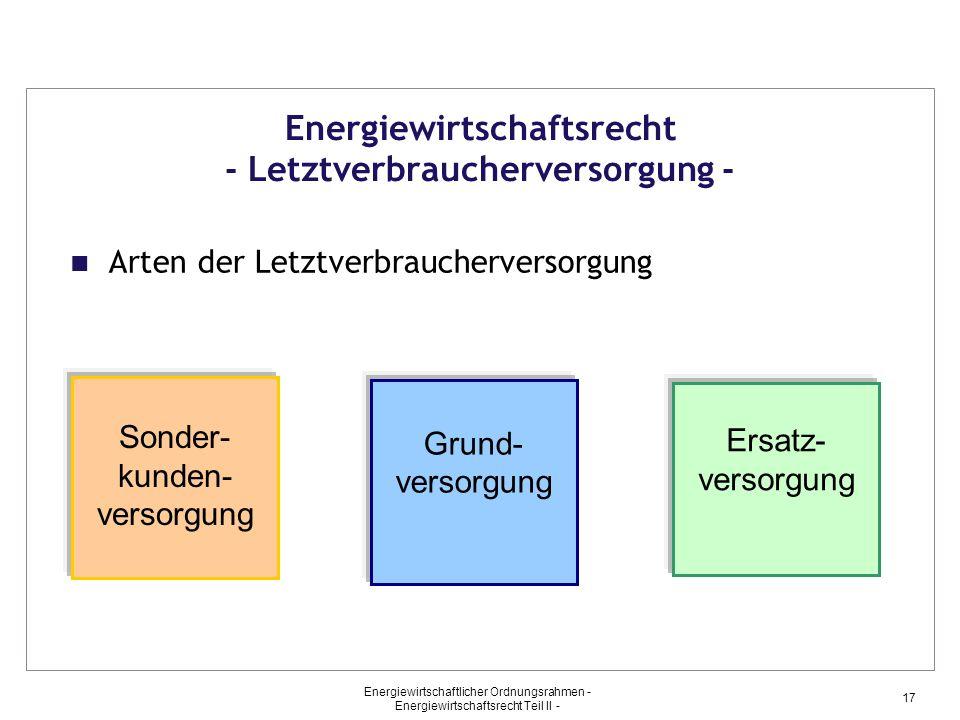Energiewirtschaftlicher Ordnungsrahmen - Energiewirtschaftsrecht Teil II - 17 Energiewirtschaftsrecht - Letztverbraucherversorgung - Arten der Letztve