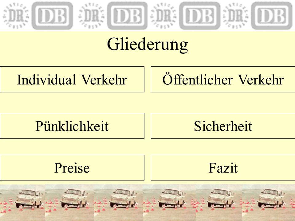 Gliederung Individual VerkehrÖffentlicher Verkehr Pünklichkeit Preise Sicherheit Fazit