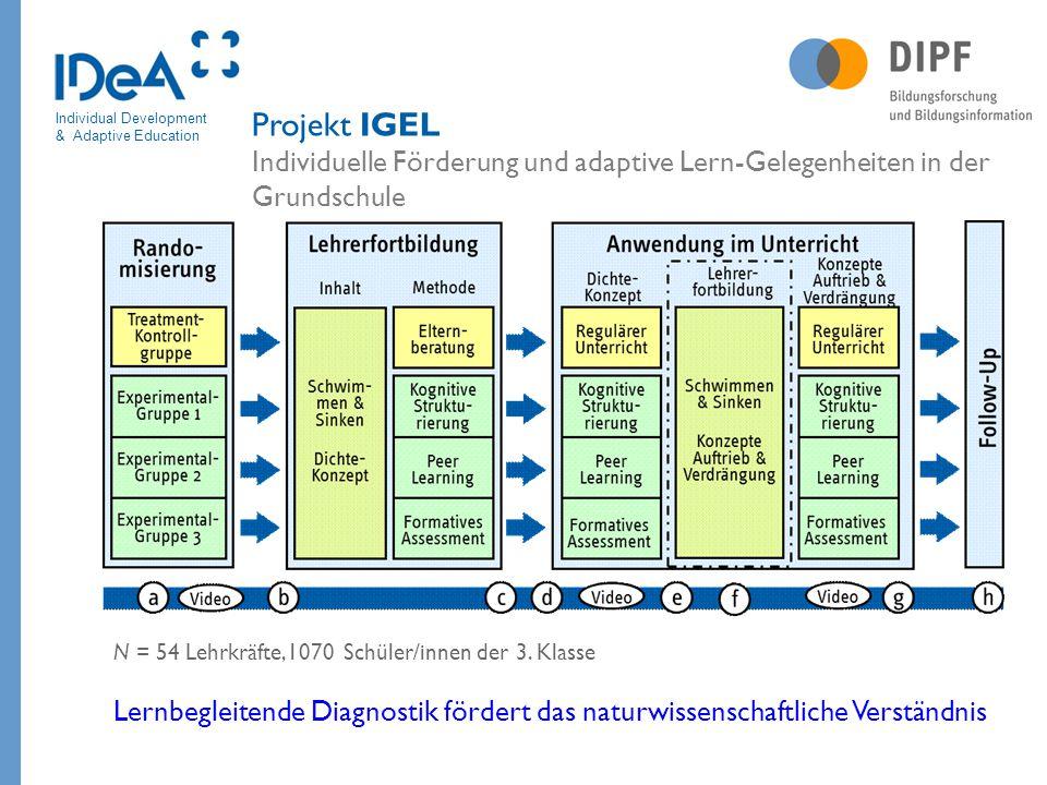 Individual Development & Adaptive Education Projekt IGEL Individuelle Förderung und adaptive Lern-Gelegenheiten in der Grundschule N = 54 Lehrkräfte,1