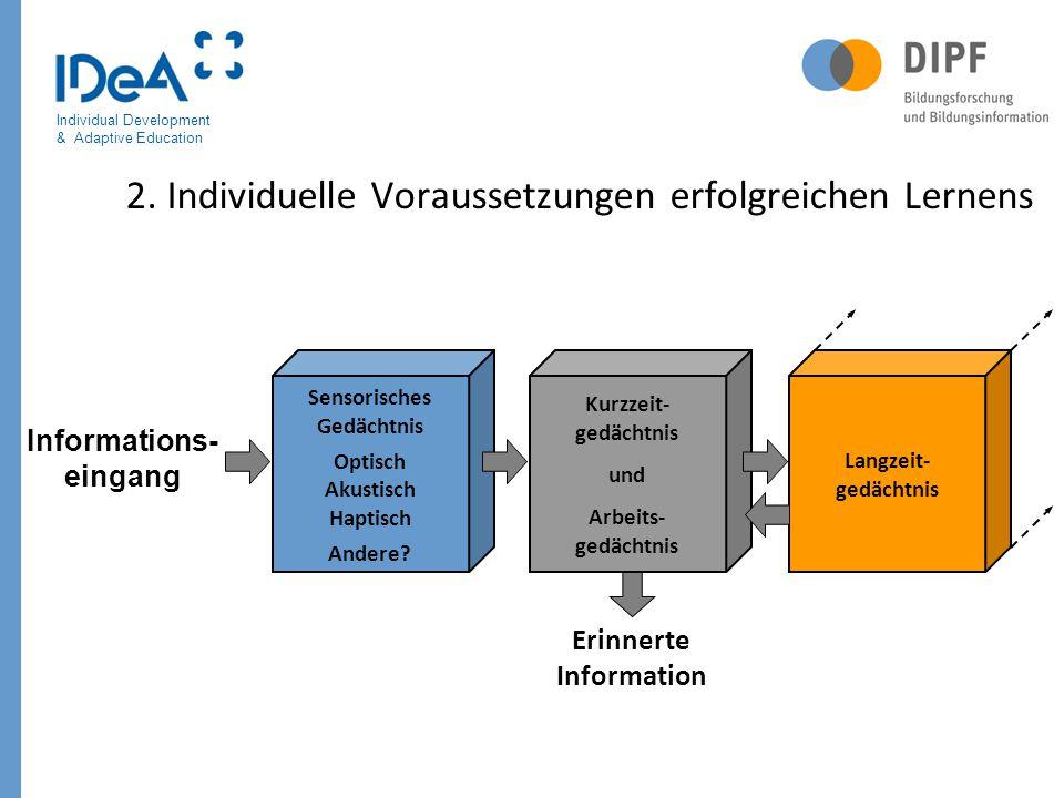 Individual Development & Adaptive Education 2. Individuelle Voraussetzungen erfolgreichen Lernens Sensorisches Gedächtnis Optisch Akustisch Haptisch A