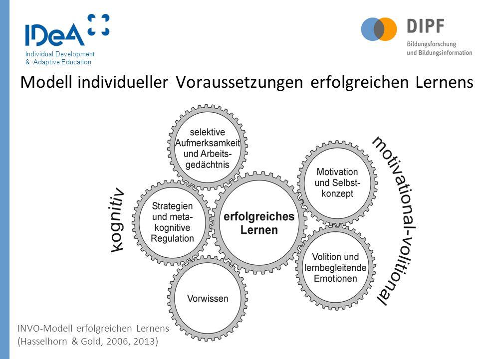 Individual Development & Adaptive Education Modell individueller Voraussetzungen erfolgreichen Lernens INVO-Modell erfolgreichen Lernens (Hasselhorn &