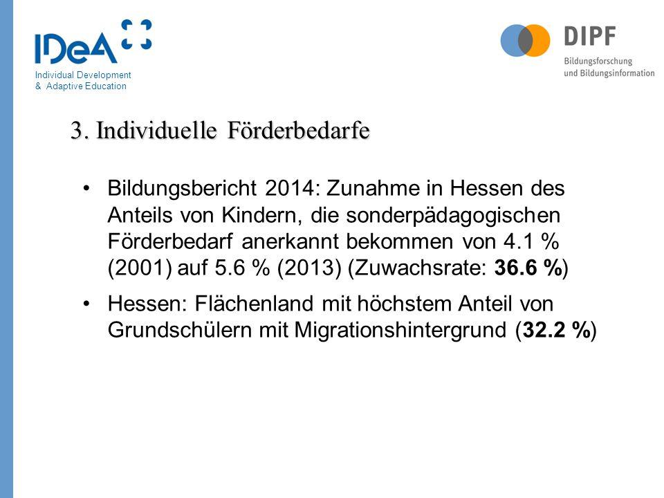 Individual Development & Adaptive Education Bildungsbericht 2014: Zunahme in Hessen des Anteils von Kindern, die sonderpädagogischen Förderbedarf aner