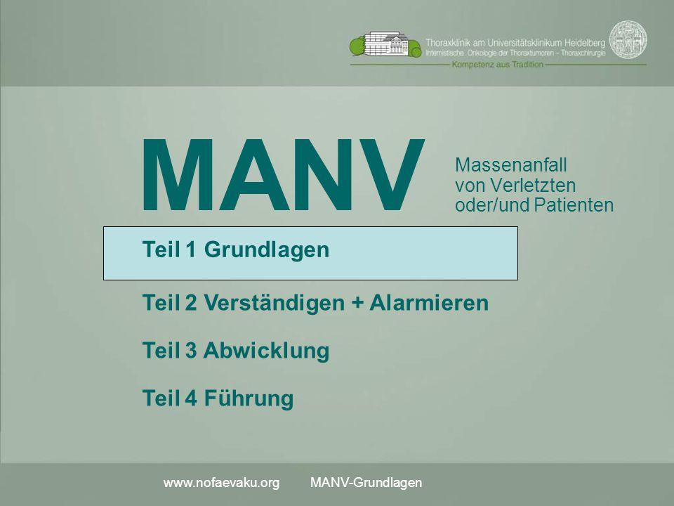 www.nofaevaku.org MANV-Grundlagen MANV Massenanfall von Verletzten oder/und Patienten Teil 2 Verständigen + Alarmieren Teil 3 Abwicklung Teil 1 Grundl