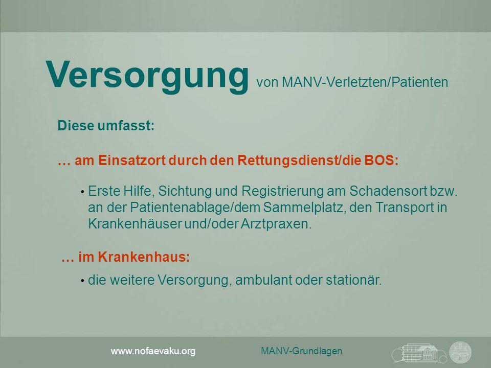 MANV-Grundlagen www.nofaevaku.org Versorgung von MANV-Verletzten/Patienten … am Einsatzort durch den Rettungsdienst/die BOS: Erste Hilfe, Sichtung und Registrierung am Schadensort bzw.