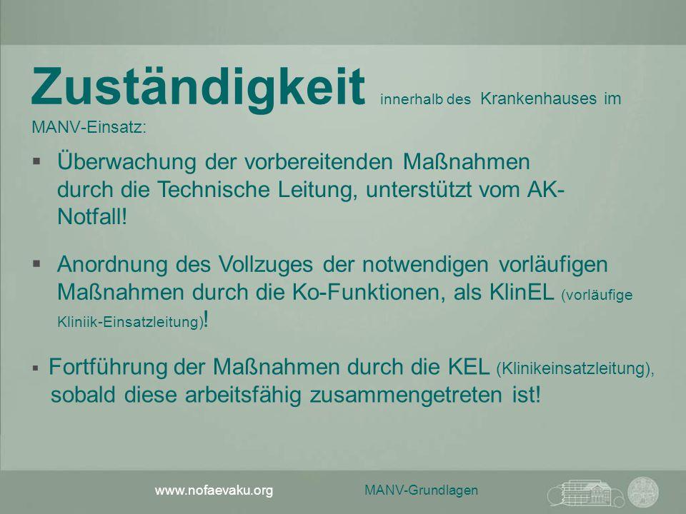 MANV-Grundlagen www.nofaevaku.org Zuständigkeit innerhalb des Krankenhauses im MANV-Einsatz:  Anordnung des Vollzuges der notwendigen vorläufigen Maß