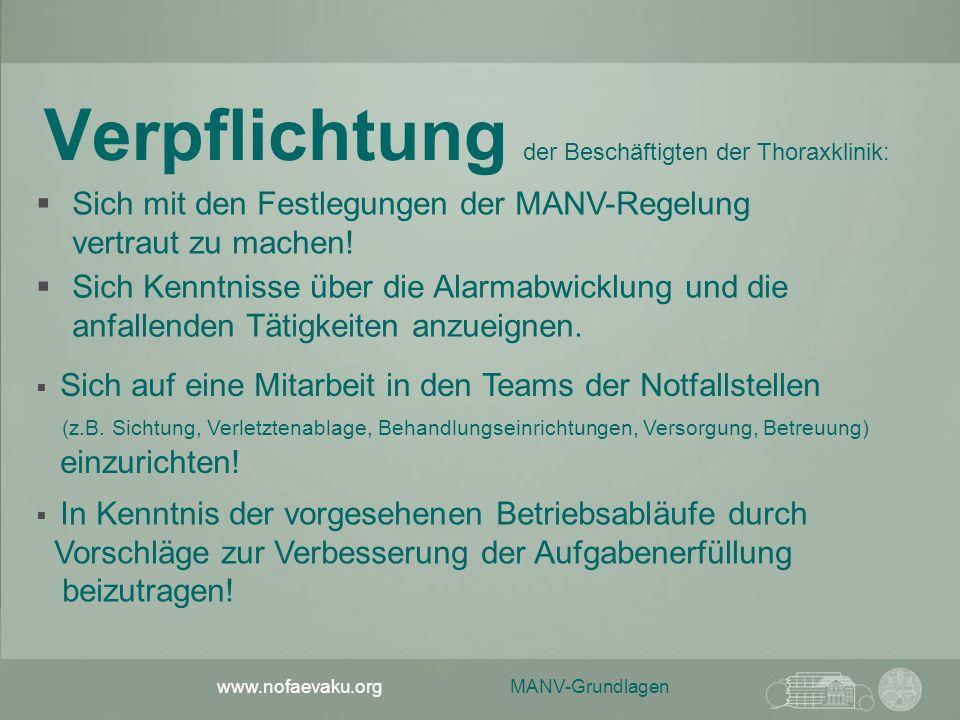 MANV-Grundlagen www.nofaevaku.org Verpflichtung der Beschäftigten der Thoraxklinik:  Sich Kenntnisse über die Alarmabwicklung und die anfallenden Tät