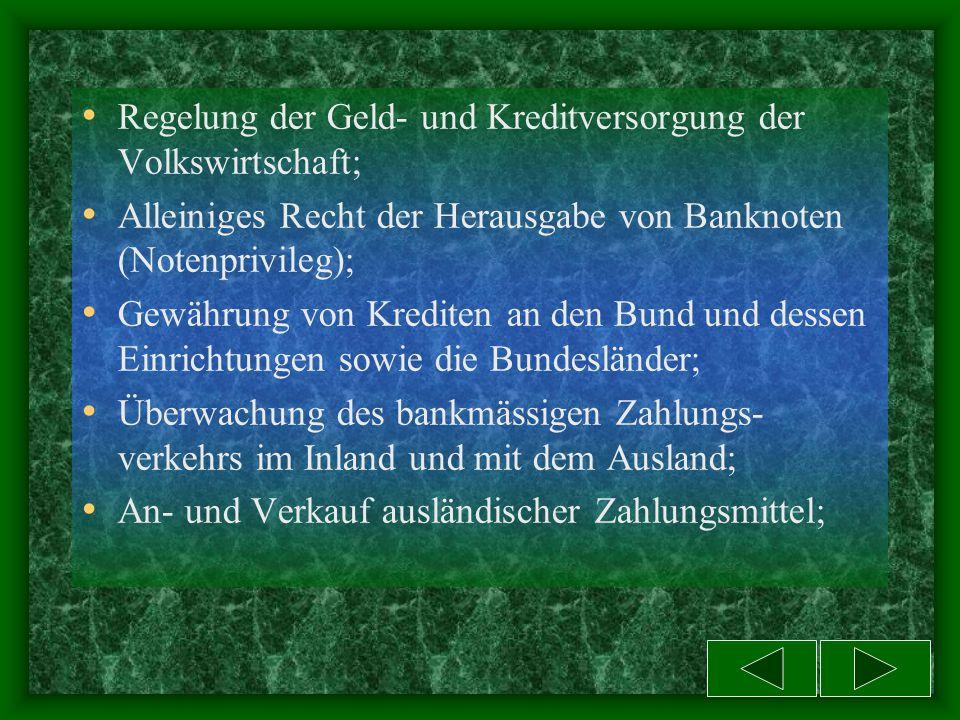 Die Deutsche Bundesbank -mit ihren Landeszentralbanken und deren Filialen gehört nicht zu dem oben beschriebenen Ge- schäftsbankensystem. Sie ist die