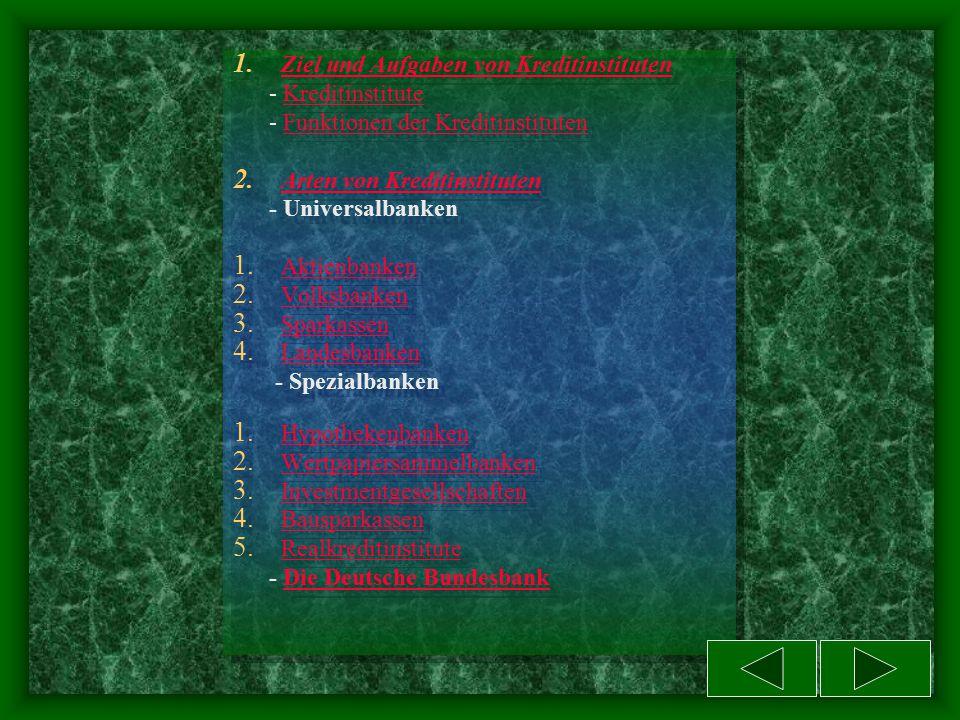Kommentieren Sie folgende Tabelle: Private Kreditinstitute Öffentlich-rechtliche Kreditinstitute mit allgemeinen Aufgaben -Aktien- und Privatbanken -Raiffeisen- und Volksbanken mit Sonderaufgaben -Hypothekenbanken -Wertpapiersammelbanke -Kapitalanlagegesellschaften -Bausparkassen mit allgemeinen Aufgaben -Sparkassen -Landesbanken (Girozentralen) Mit Sonderaufgaben -Realkreditinstitute -Deutsche Verkehrskreditbank -Bausparkassen