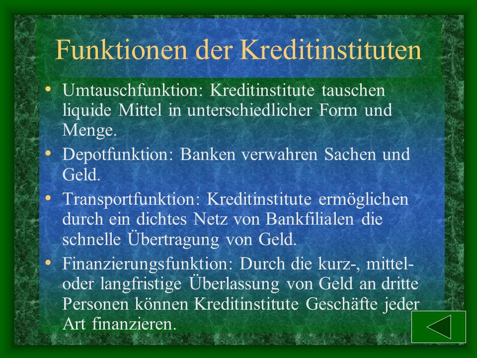 Funktionen der Kreditinstituten Umtauschfunktion: Kreditinstitute tauschen liquide Mittel in unterschiedlicher Form und Menge.