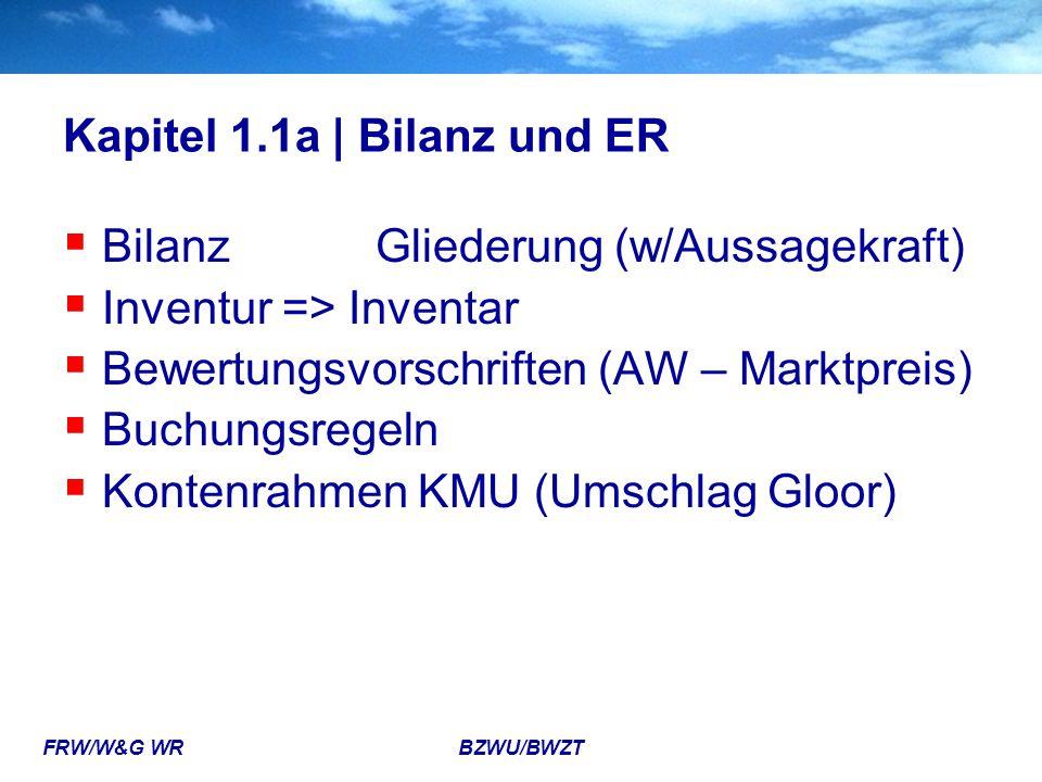 FRW/W&G WR BZWU/BWZT Kapitel 1.1a | Bilanz und ER  BilanzGliederung (w/Aussagekraft)  Inventur => Inventar  Bewertungsvorschriften (AW – Marktpreis