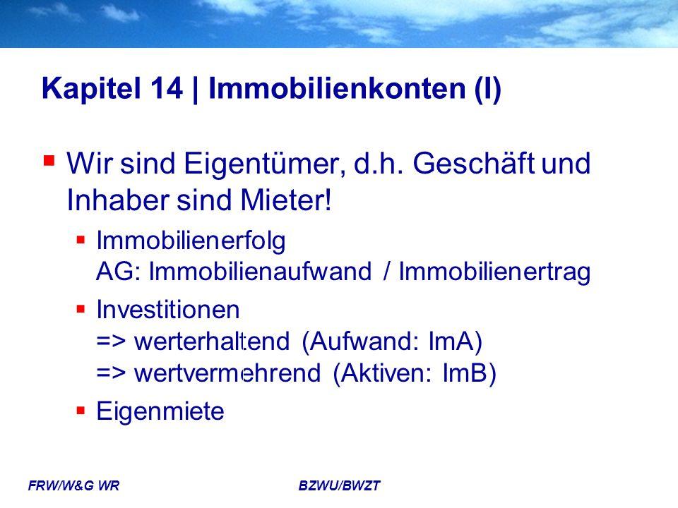 FRW/W&G WR BZWU/BWZT Kapitel 14 | Immobilienkonten (I)  Wir sind Eigentümer, d.h. Geschäft und Inhaber sind Mieter!  Immobilienerfolg AG: Immobilien