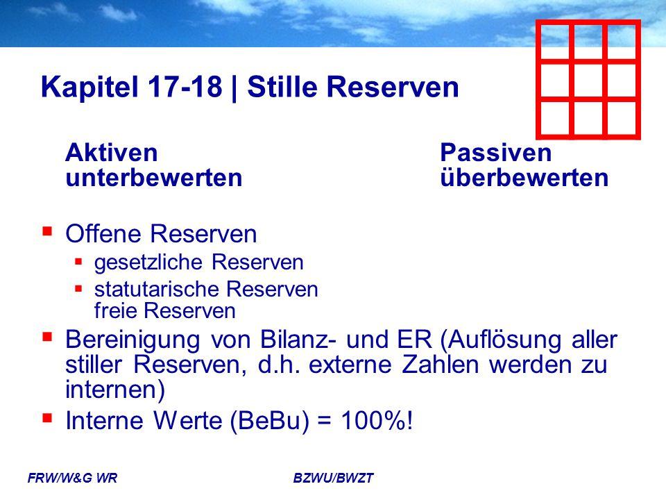 FRW/W&G WR BZWU/BWZT Kapitel 17-18 | Stille Reserven Aktiven Passiven unterbewertenüberbewerten  Offene Reserven  gesetzliche Reserven  statutarisc