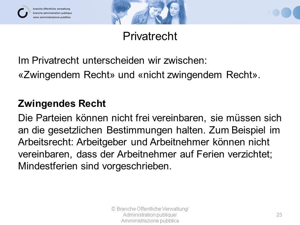 Privatrecht Im Privatrecht unterscheiden wir zwischen: «Zwingendem Recht» und «nicht zwingendem Recht».