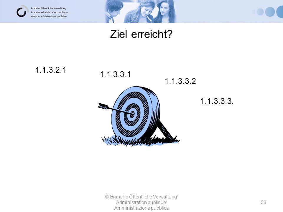 Ziel erreicht? 1.1.3.2.1 1.1.3.3.1 1.1.3.3.2 © Branche Öffentliche Verwaltung/ Administration publique/ Amministrazione pubblica 56 1.1.3.3.3.