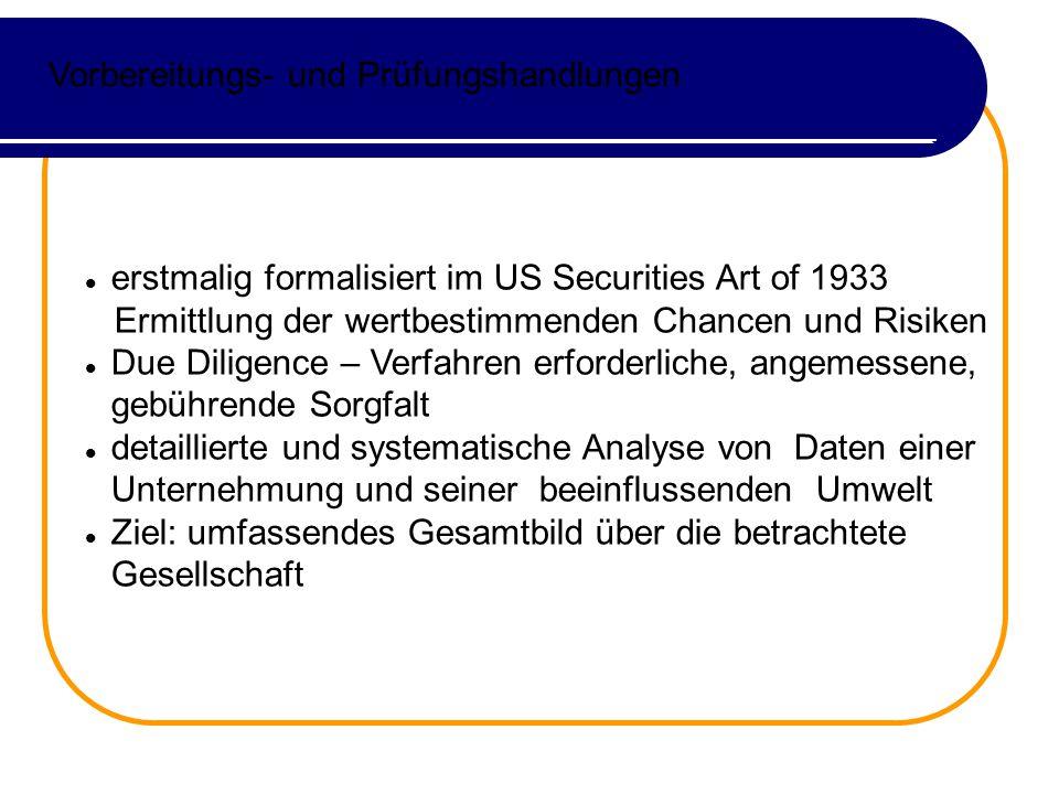 Vorbereitungs- und Prüfungshandlungen erstmalig formalisiert im US Securities Art of 1933 Ermittlung der wertbestimmenden Chancen und Risiken Due Dili