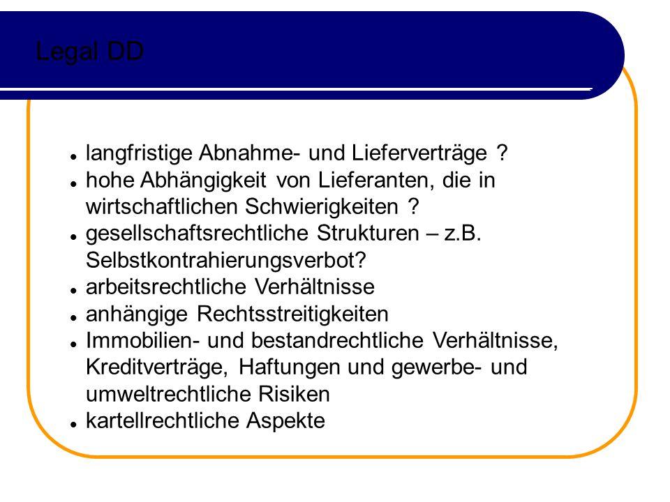 Legal DD langfristige Abnahme- und Lieferverträge .