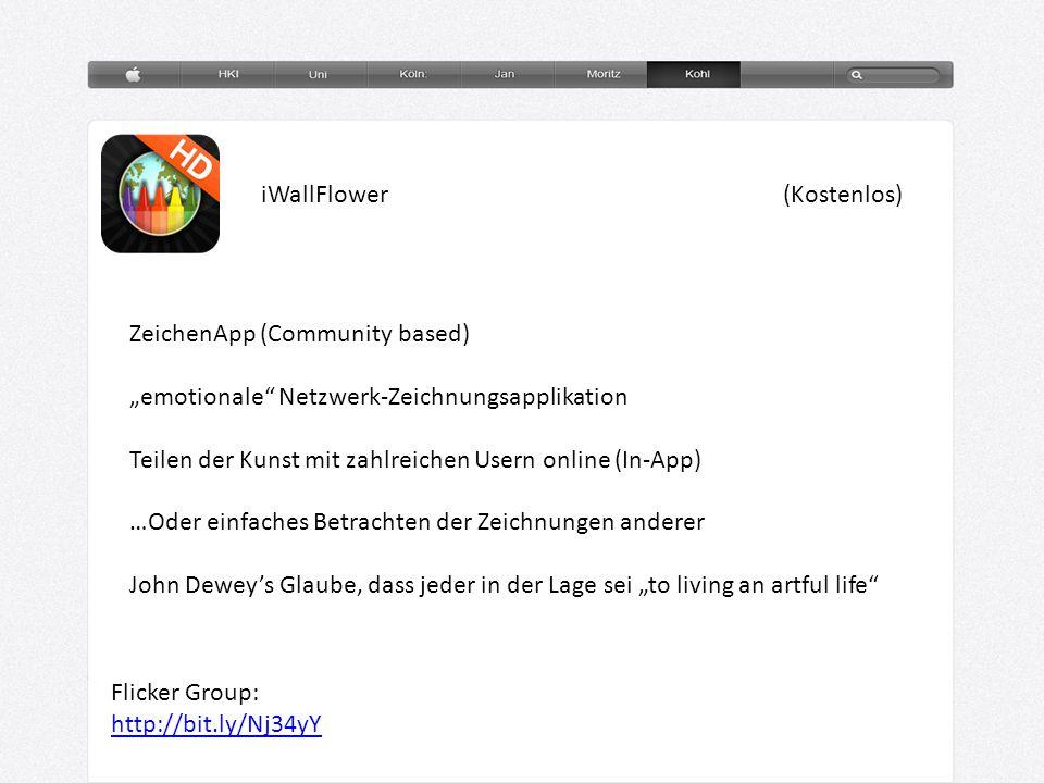 """iWallFlower(Kostenlos) ZeichenApp (Community based) """"emotionale"""" Netzwerk-Zeichnungsapplikation Teilen der Kunst mit zahlreichen Usern online (In-App)"""