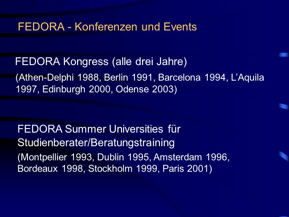 FEDORA - Konferenzen und Events FEDORA Kongress (alle drei Jahre) (Athen-Delphi 1988, Berlin 1991, Barcelona 1994, L'Aquila 1997, Edinburgh 2000, Odense 2003) FEDORA Summer Universities für Studienberater/Beratungstraining (Montpellier 1993, Dublin 1995, Amsterdam 1996, Bordeaux 1998, Stockholm 1999, Paris 2001)