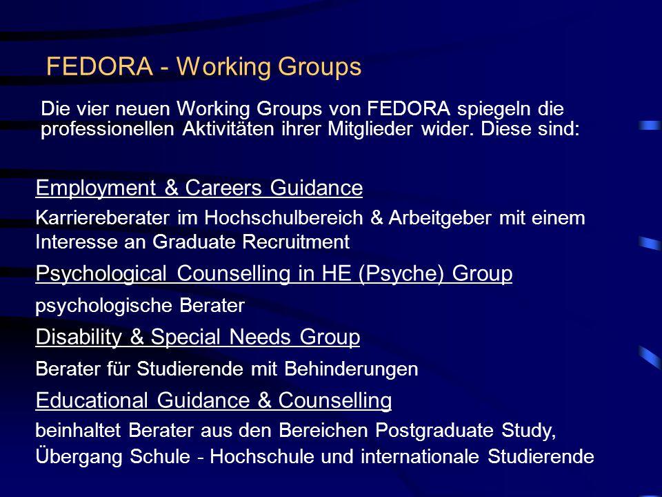 FEDORA - Working Groups Die vier neuen Working Groups von FEDORA spiegeln die professionellen Aktivitäten ihrer Mitglieder wider.