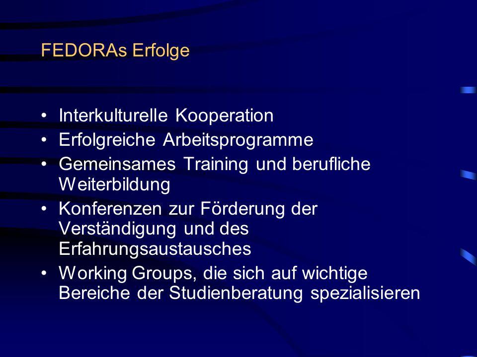 FEDORAs Erfolge Interkulturelle Kooperation Erfolgreiche Arbeitsprogramme Gemeinsames Training und berufliche Weiterbildung Konferenzen zur Förderung der Verständigung und des Erfahrungsaustausches Working Groups, die sich auf wichtige Bereiche der Studienberatung spezialisieren