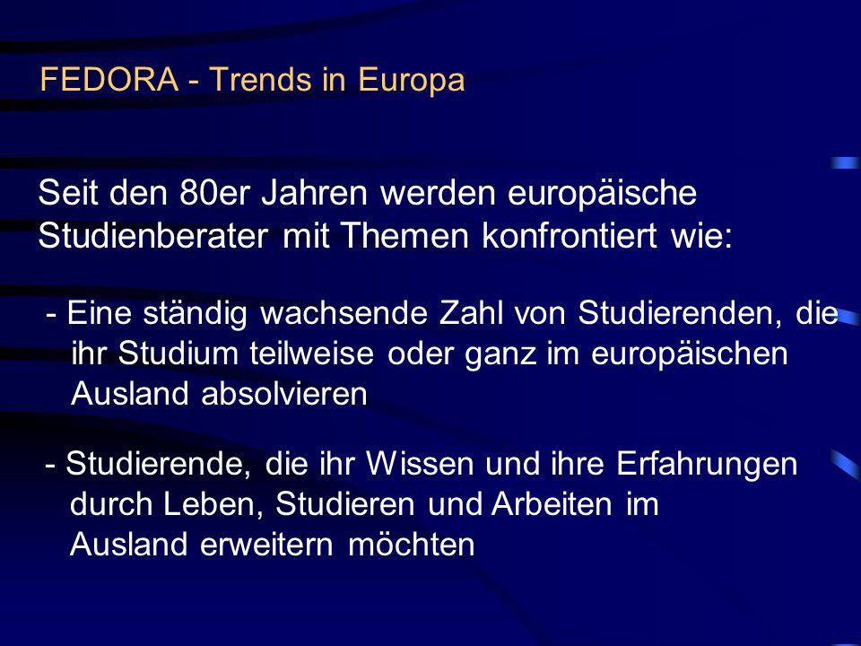 FEDORA - Trends in Europa Seit den 80er Jahren werden europäische Studienberater mit Themen konfrontiert wie: - Eine ständig wachsende Zahl von Studierenden, die ihr Studium teilweise oder ganz im europäischen Ausland absolvieren - Studierende, die ihr Wissen und ihre Erfahrungen durch Leben, Studieren und Arbeiten im Ausland erweitern möchten