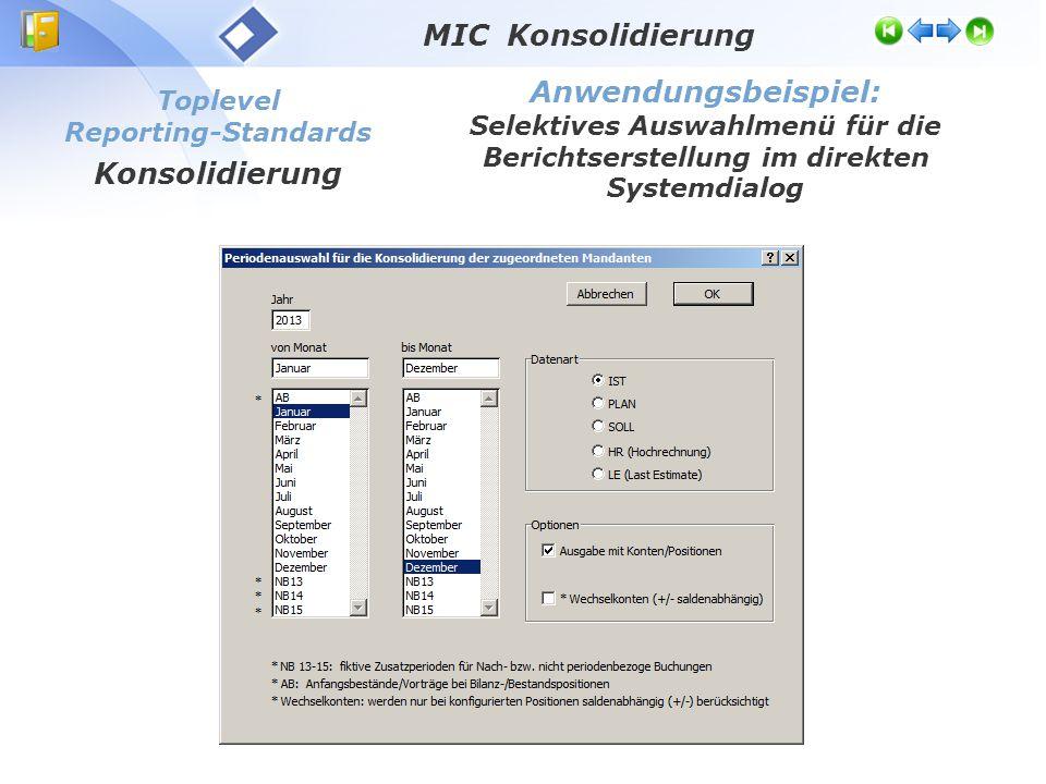 Toplevel Reporting-Standards Konsolidierung Anwendungsbeispiel: Selektives Auswahlmenü für die Berichtserstellung im direkten Systemdialog MIC Konsoli
