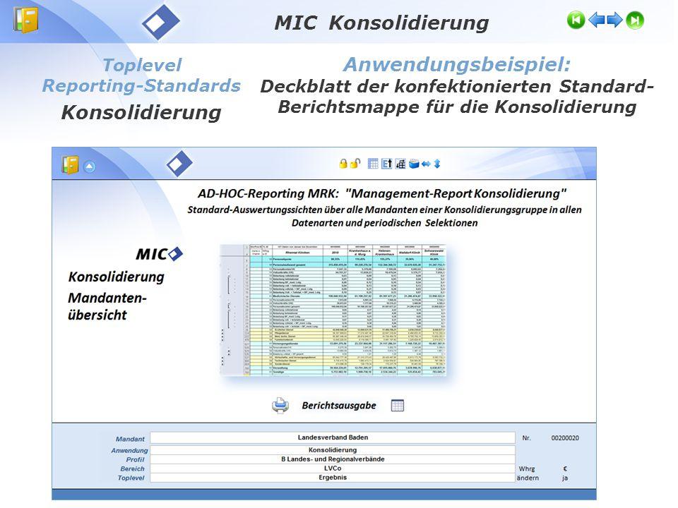 Toplevel Reporting-Standards Konsolidierung Anwendungsbeispiel: Deckblatt der konfektionierten Standard- Berichtsmappe für die Konsolidierung MIC Konsolidierung