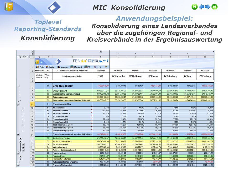 Toplevel Reporting-Standards Konsolidierung Anwendungsbeispiel: Konsolidierung eines Landesverbandes über die zugehörigen Regional- und Kreisverbände in der Ergebnisauswertung MIC Konsolidierung