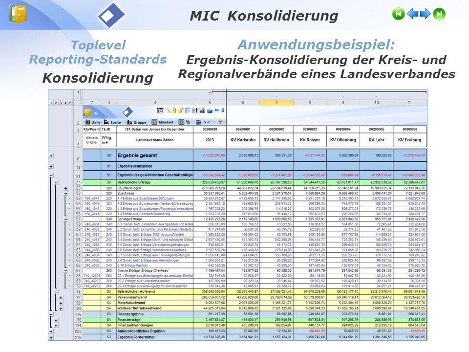 Toplevel Reporting-Standards Konsolidierung Anwendungsbeispiel: Ergebnis-Konsolidierung der Kreis- und Regionalverbände eines Landesverbandes MIC Konsolidierung