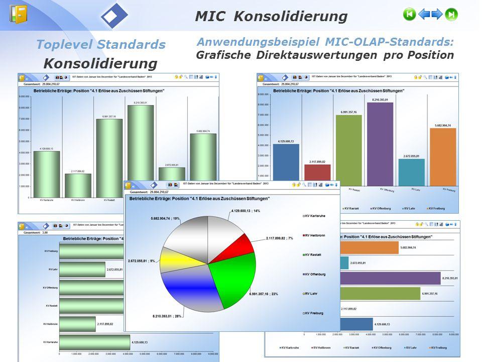 Toplevel Standards Konsolidierung Anwendungsbeispiel MIC-OLAP-Standards: Grafische Direktauswertungen pro Position MIC Konsolidierung
