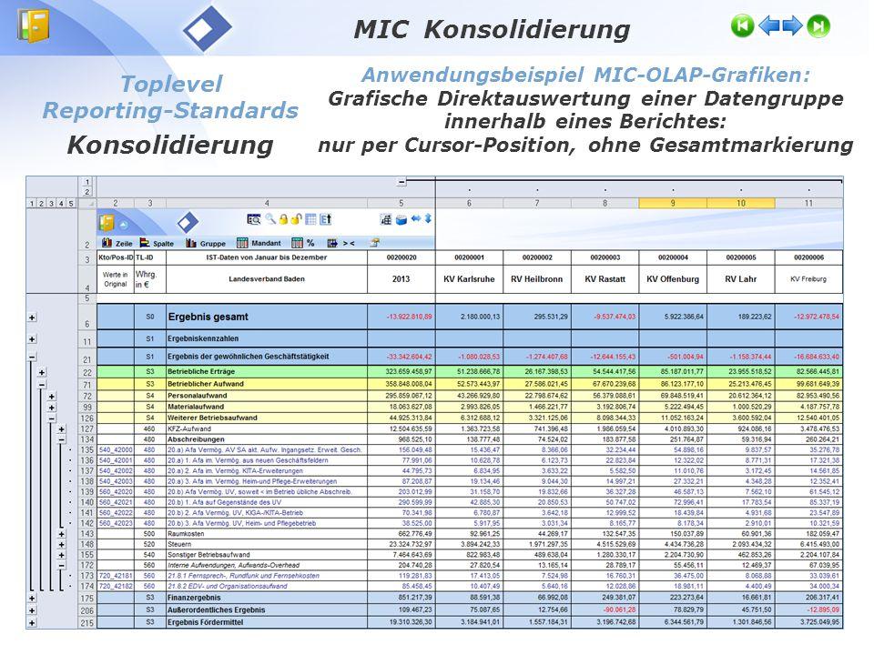 Toplevel Reporting-Standards Konsolidierung Anwendungsbeispiel MIC-OLAP-Grafiken: Grafische Direktauswertung einer Datengruppe innerhalb eines Berichtes: nur per Cursor-Position, ohne Gesamtmarkierung MIC Konsolidierung