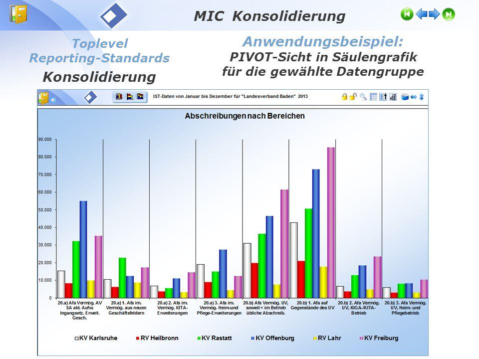 Toplevel Reporting-Standards Konsolidierung Anwendungsbeispiel: PIVOT-Sicht in Säulengrafik für die gewählte Datengruppe MIC Konsolidierung