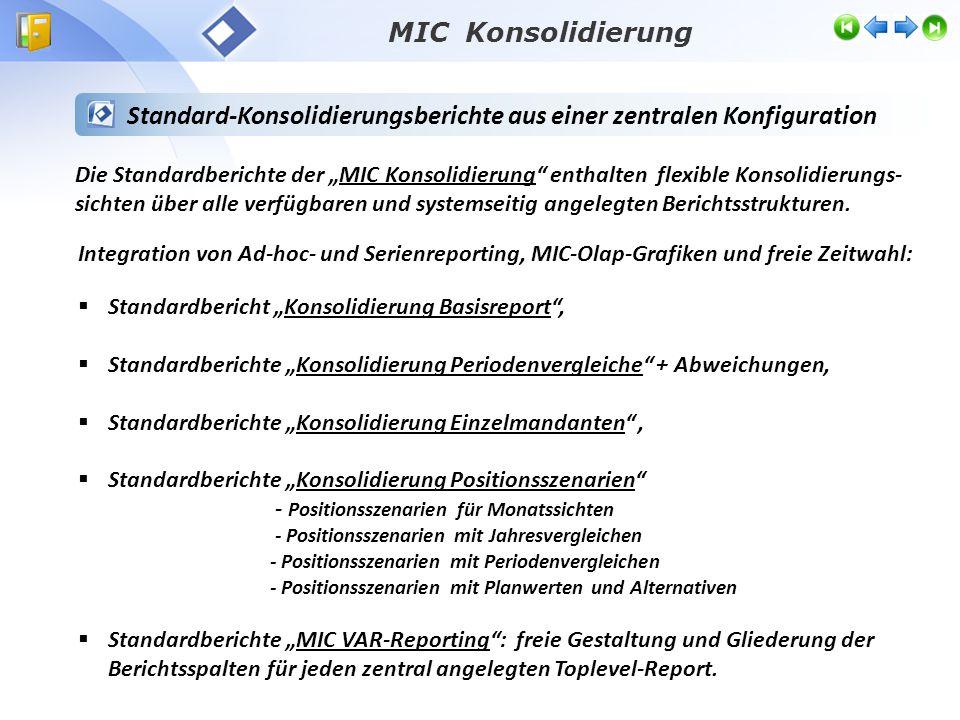 """ Standardbericht """"Konsolidierung Basisreport"""",  Standardberichte """"Konsolidierung Periodenvergleiche"""" + Abweichungen,  Standardberichte """"Konsolidier"""