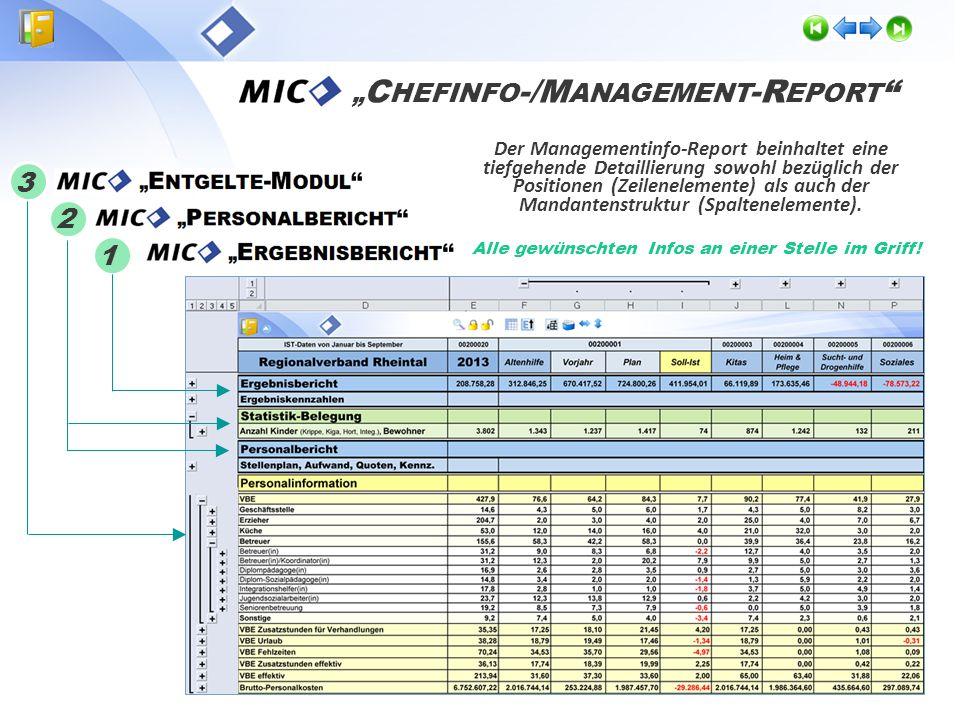 Der Managementinfo-Report fasst die Standardberichte mit den individuell angepassten Ergebnis-, Personal- und Entgelte- Auswertungen in einem zentralen Bericht zusammen.