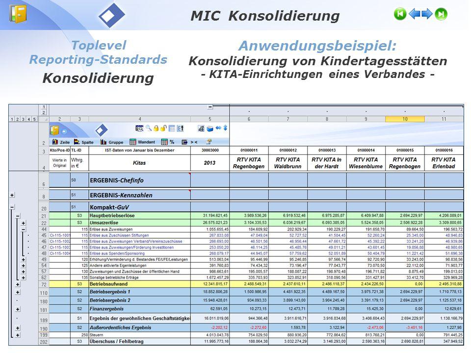 Toplevel Reporting-Standards Konsolidierung Anwendungsbeispiel: Konsolidierung von Kindertagesstätten - KITA-Einrichtungen eines Verbandes - MIC Konsolidierung