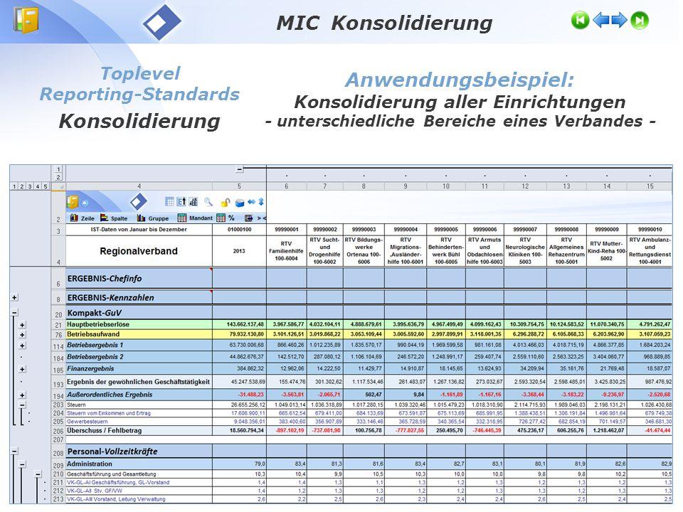 Toplevel Reporting-Standards Konsolidierung Anwendungsbeispiel: Konsolidierung aller Einrichtungen - unterschiedliche Bereiche eines Verbandes - MIC Konsolidierung