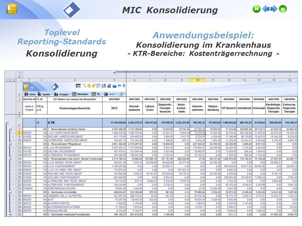 Toplevel Reporting-Standards Konsolidierung Anwendungsbeispiel: Konsolidierung im Krankenhaus - KTR-Bereiche: Kostenträgerrechnung - MIC Konsolidierun