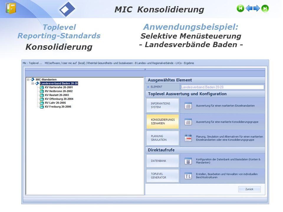Toplevel Reporting-Standards Konsolidierung Anwendungsbeispiel: Selektive Menüsteuerung - Landesverbände Baden - MIC Konsolidierung