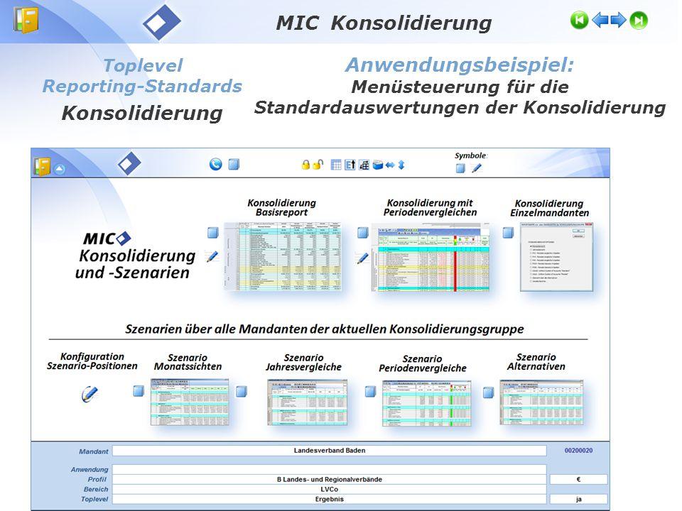Toplevel Reporting-Standards Konsolidierung Anwendungsbeispiel: Menüsteuerung für die Standardauswertungen der Konsolidierung MIC Konsolidierung