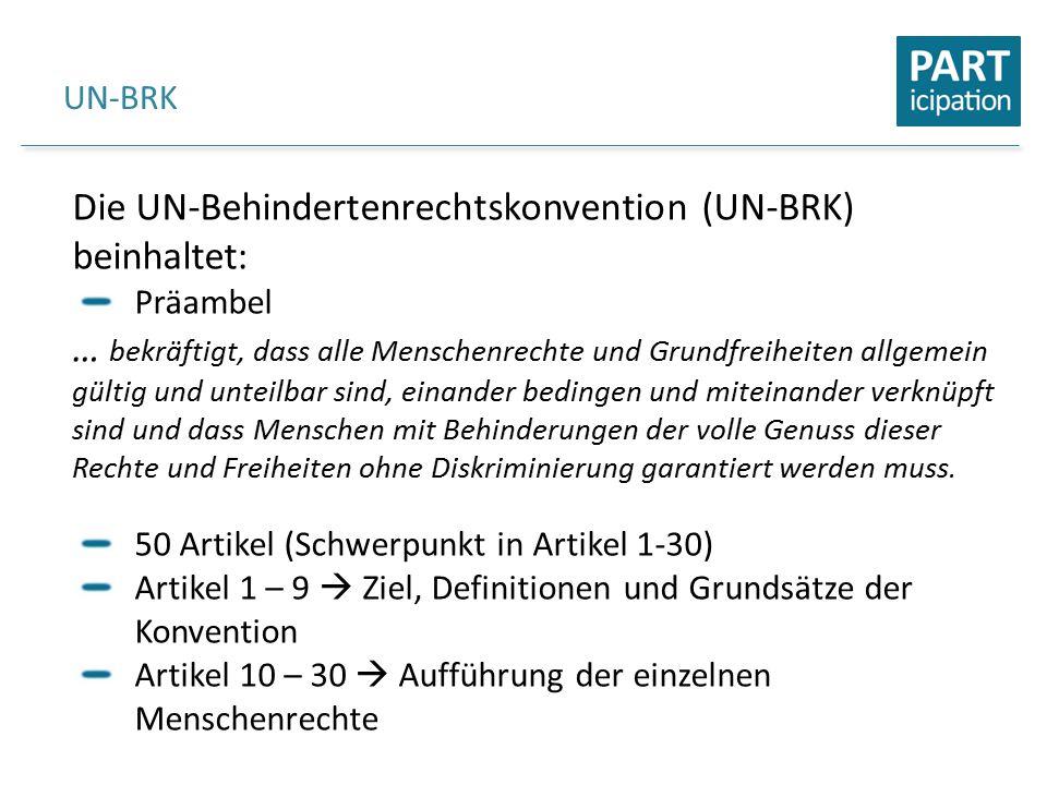 UN-BRK Die UN-Behindertenrechtskonvention (UN-BRK) beinhaltet: Präambel … bekräftigt, dass alle Menschenrechte und Grundfreiheiten allgemein gültig und unteilbar sind, einander bedingen und miteinander verknüpft sind und dass Menschen mit Behinderungen der volle Genuss dieser Rechte und Freiheiten ohne Diskriminierung garantiert werden muss.