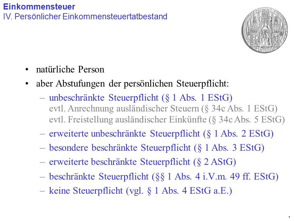 natürliche Person aber Abstufungen der persönlichen Steuerpflicht: –unbeschränkte Steuerpflicht (§ 1 Abs. 1 EStG) –beschränkte Steuerpflicht (§§ 1 Abs