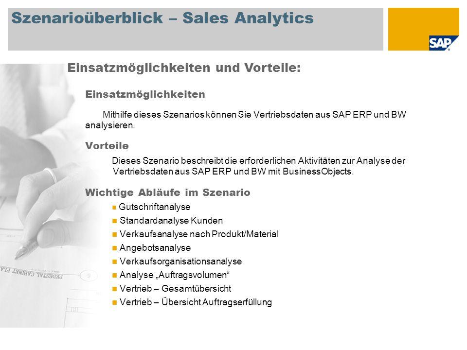 Szenarioüberblick – Sales Analytics Einsatzmöglichkeiten Mithilfe dieses Szenarios können Sie Vertriebsdaten aus SAP ERP und BW analysieren.