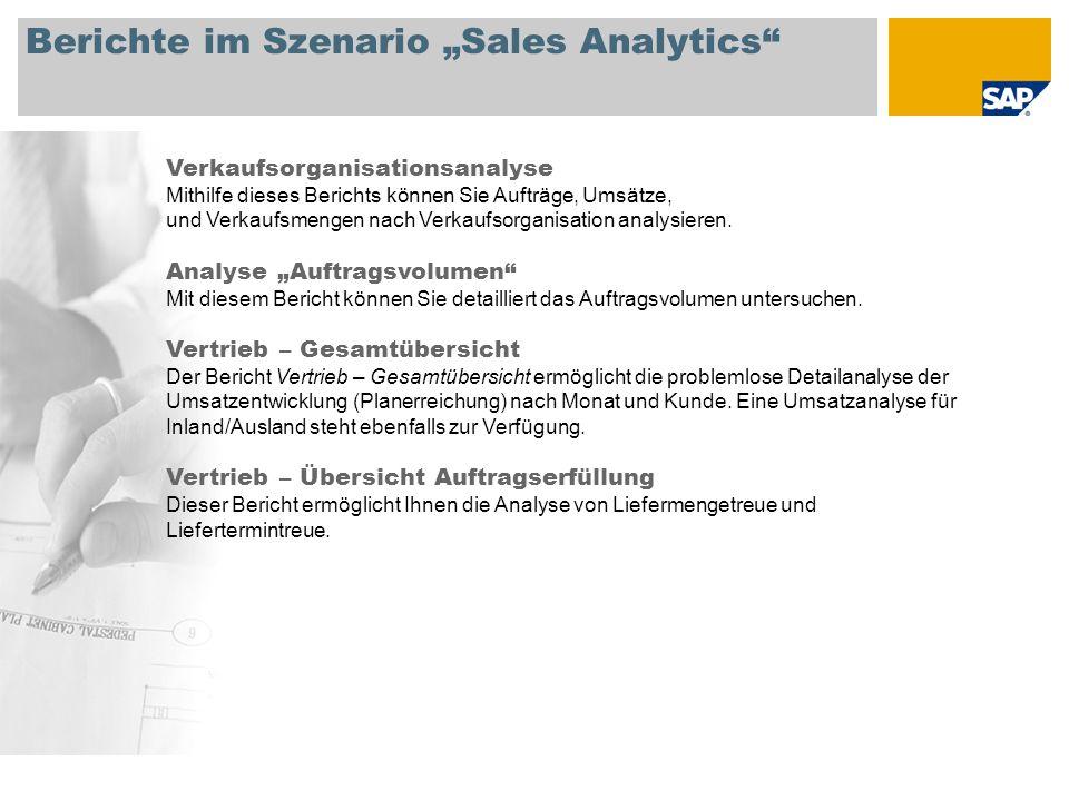 """Berichte im Szenario """"Sales Analytics Verkaufsorganisationsanalyse Mithilfe dieses Berichts können Sie Aufträge, Umsätze, und Verkaufsmengen nach Verkaufsorganisation analysieren."""