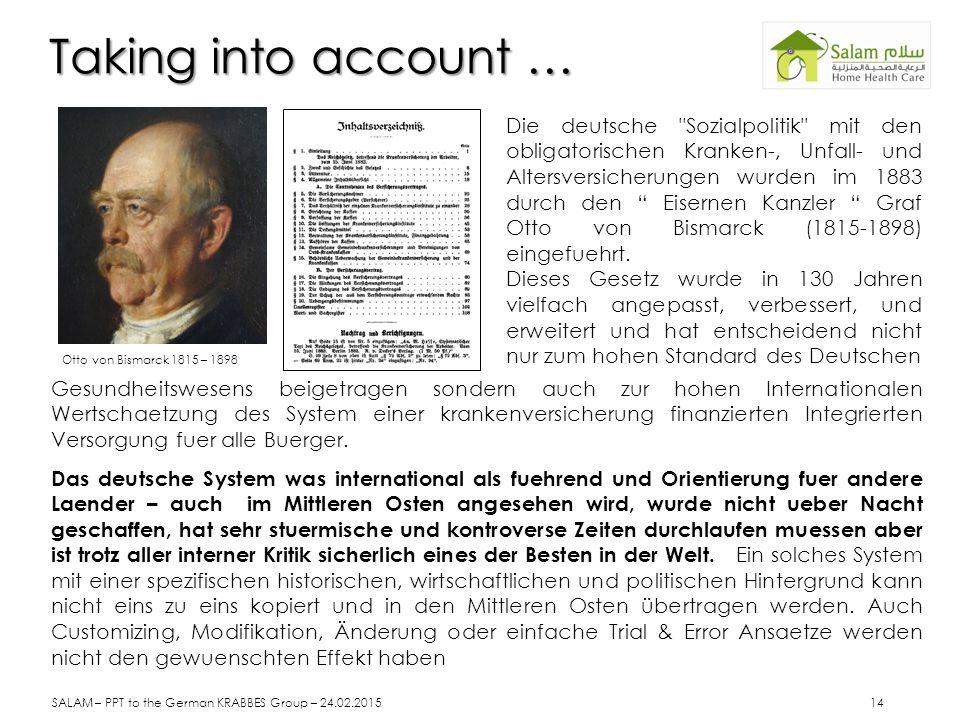 Taking into account … Die deutsche Sozialpolitik mit den obligatorischen Kranken-, Unfall- und Altersversicherungen wurden im 1883 durch den Eisernen Kanzler Graf Otto von Bismarck (1815-1898) eingefuehrt.